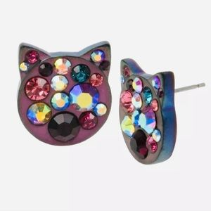 Betsey Johnson | Kitty Cat Bejewelled Earrings
